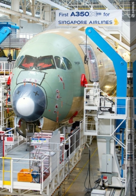 Hamarosan elkészül a Singapore Airlines első A350XWB-je